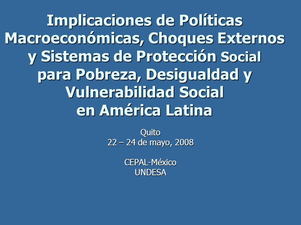 Implicaciones de Políticas Macroeconómicas, Choques Externos y Sistemas de Protección Social para Pobreza, Desigualdad y Vulnerabilidad Social en Amér
