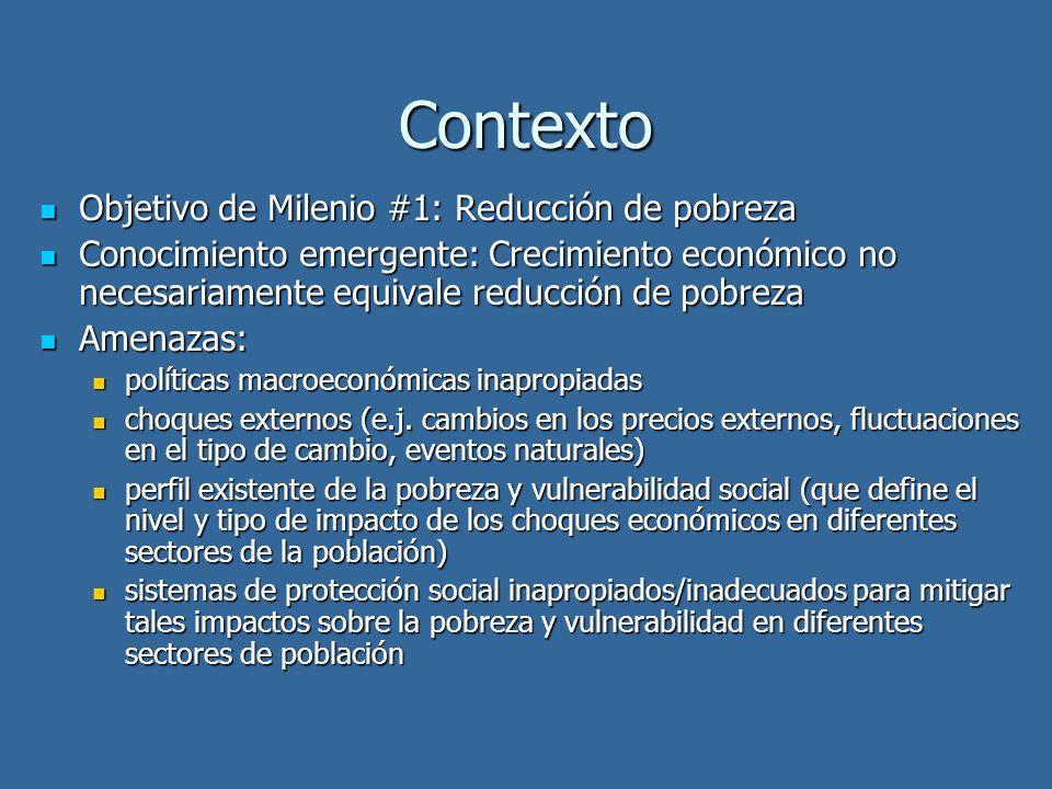 Contexto Objetivo de Milenio #1: Reducción de pobreza Objetivo de Milenio #1: Reducción de pobreza Conocimiento emergente: Crecimiento económico no ne