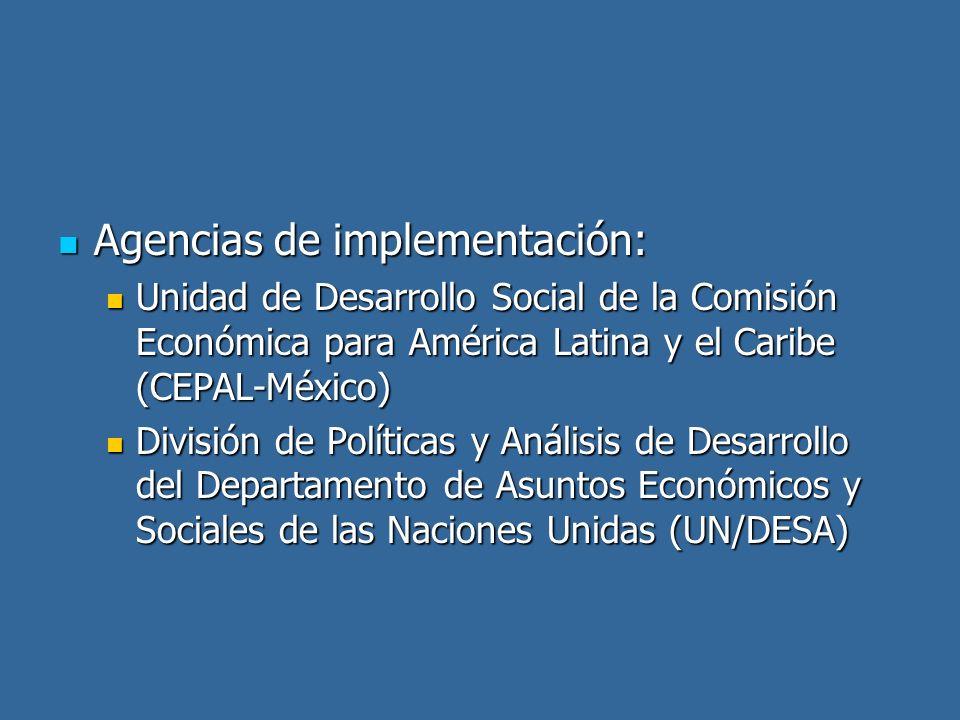 Agencias de implementación: Agencias de implementación: Unidad de Desarrollo Social de la Comisión Económica para América Latina y el Caribe (CEPAL-Mé