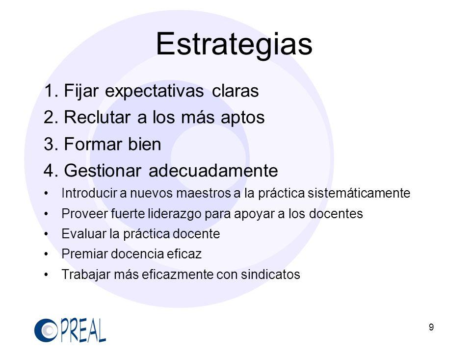 9 Estrategias 1. Fijar expectativas claras 2. Reclutar a los más aptos 3. Formar bien 4. Gestionar adecuadamente Introducir a nuevos maestros a la prá