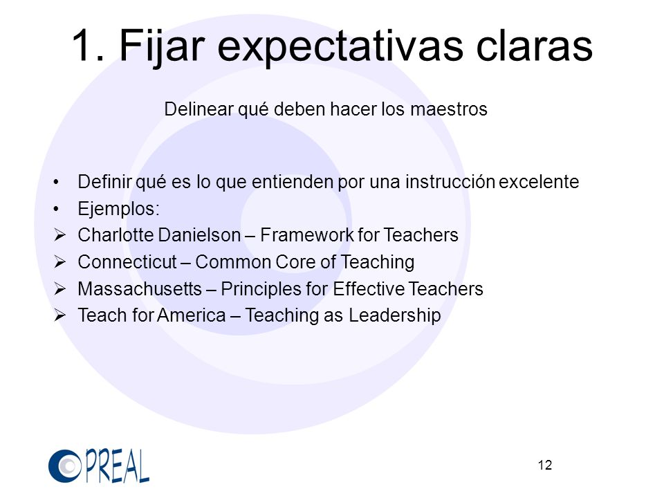 12 1. Fijar expectativas claras Delinear qué deben hacer los maestros Definir qué es lo que entienden por una instrucción excelente Ejemplos: Charlott