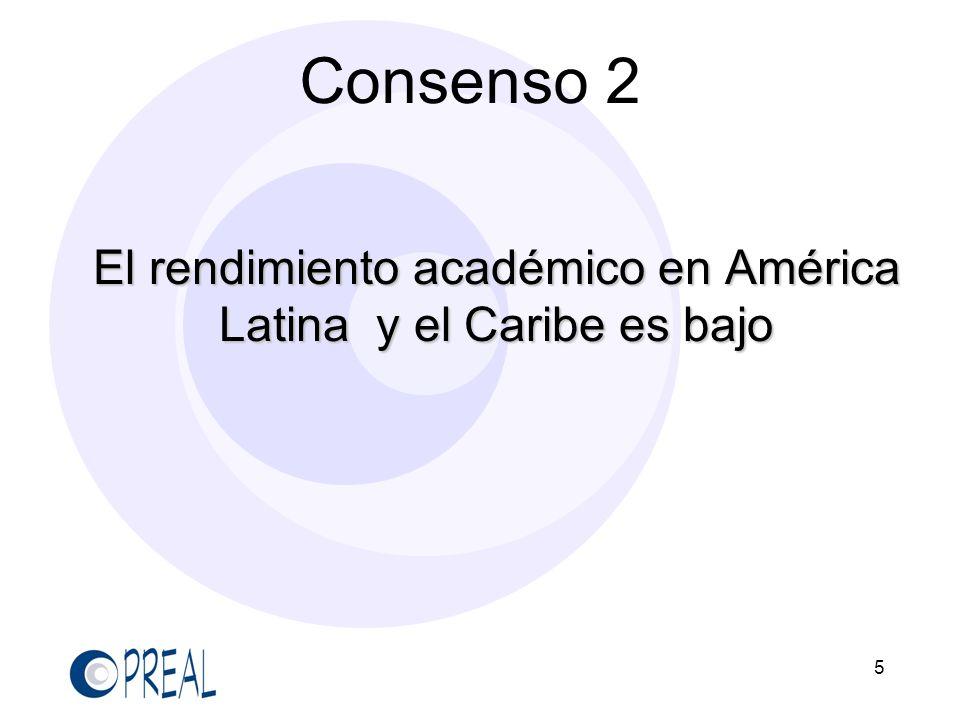 5 Consenso 2 El rendimiento académico en América Latina y el Caribe es bajo