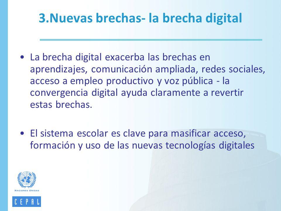 La brecha digital exacerba las brechas en aprendizajes, comunicación ampliada, redes sociales, acceso a empleo productivo y voz pública - la convergen
