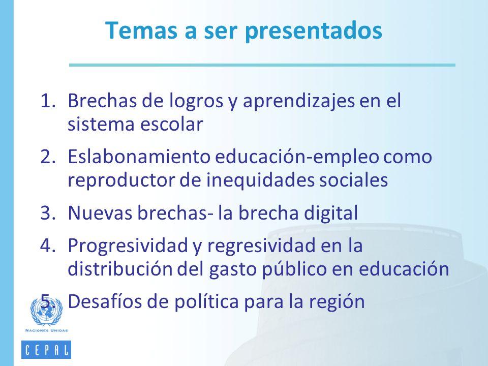 1.Brechas de logros y aprendizajes en el sistema escolar 2.Eslabonamiento educación-empleo como reproductor de inequidades sociales 3.Nuevas brechas-