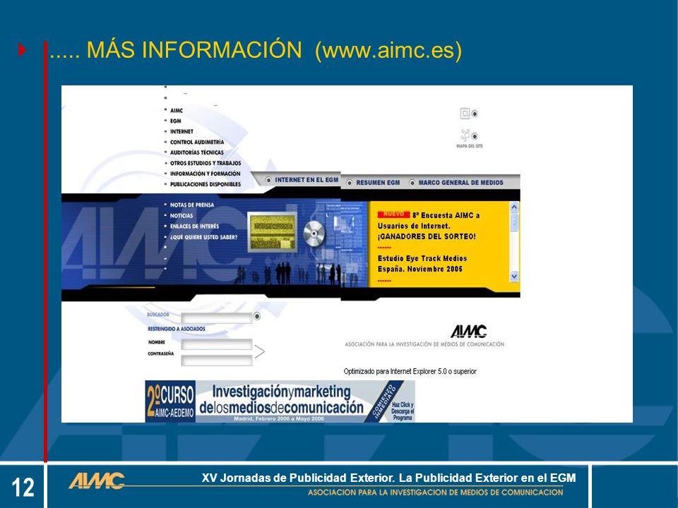 12 XV Jornadas de Publicidad Exterior. La Publicidad Exterior en el EGM.....