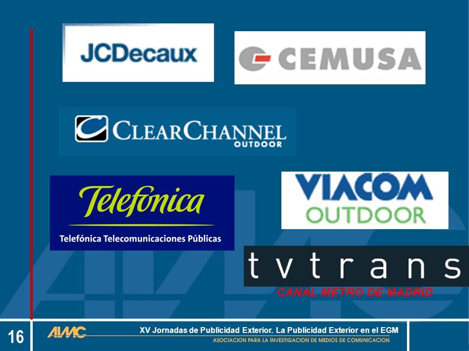 16 XV Jornadas de Publicidad Exterior. La Publicidad Exterior en el EGM CANAL METRO DE MADRID