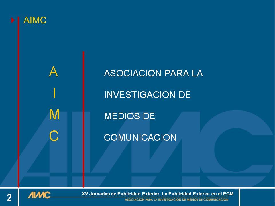 13 XV Jornadas de Publicidad Exterior.La Publicidad Exterior en el EGM.....