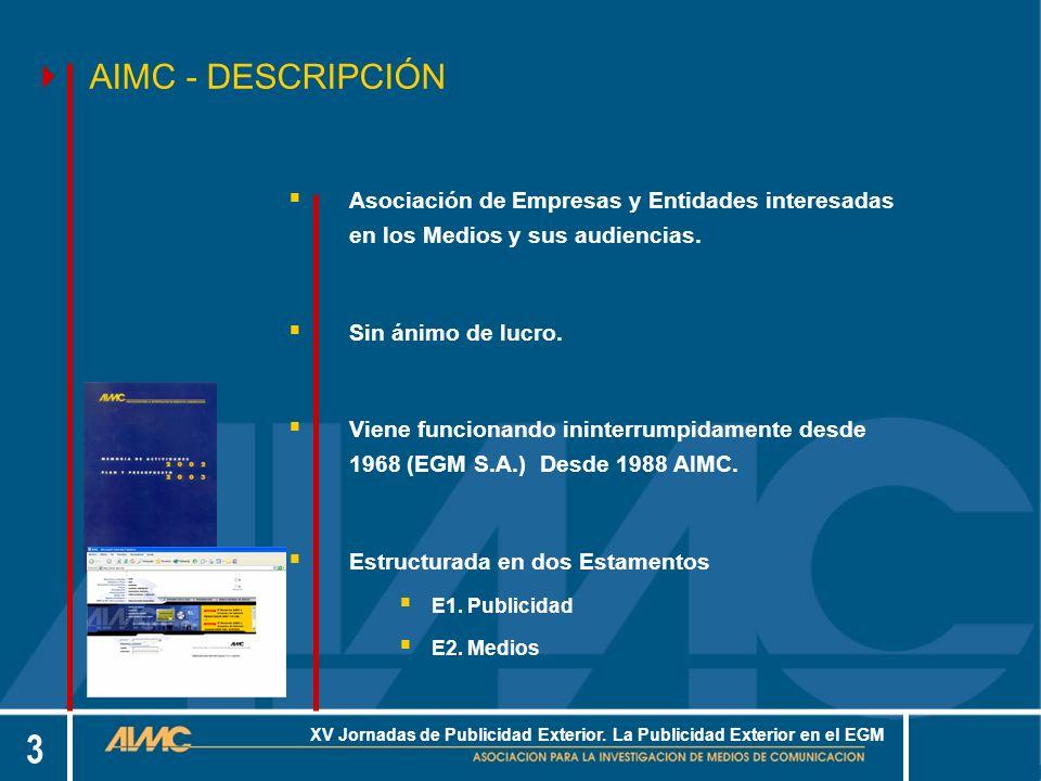 14 XV Jornadas de Publicidad Exterior.La Publicidad Exterior en el EGM...