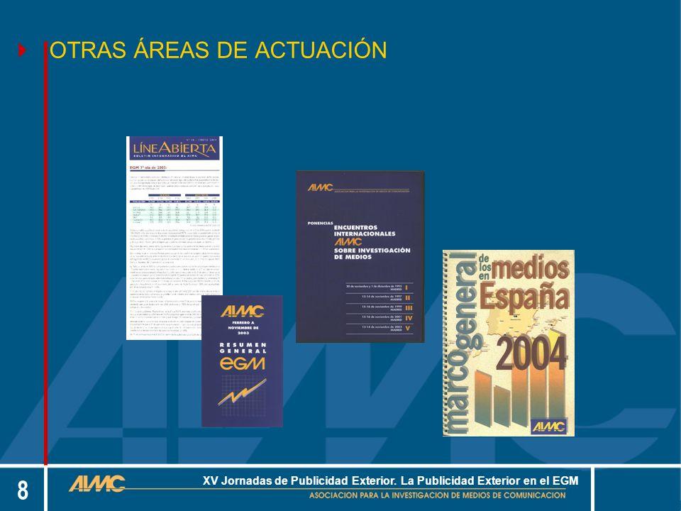 8 XV Jornadas de Publicidad Exterior. La Publicidad Exterior en el EGM OTRAS ÁREAS DE ACTUACIÓN