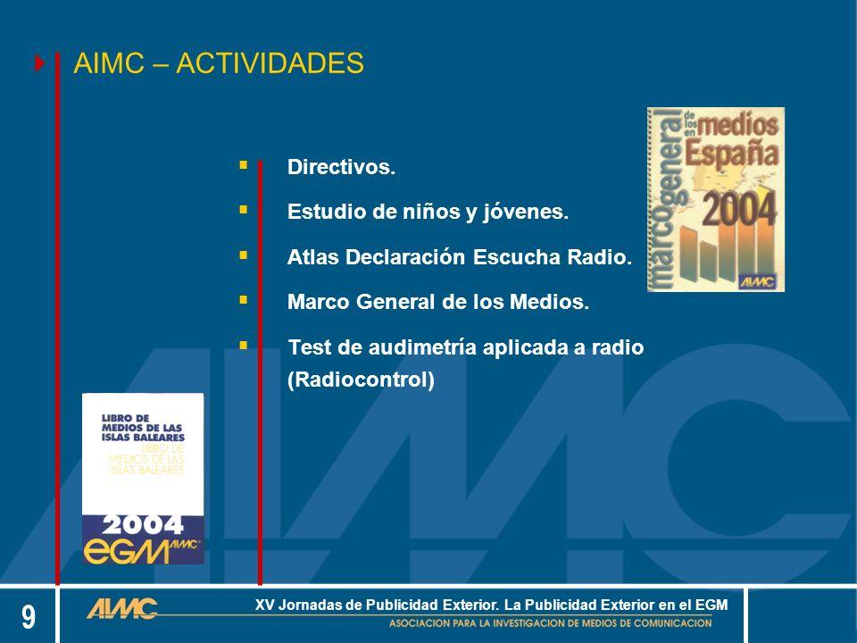 20 XV Jornadas de Publicidad Exterior. La Publicidad Exterior en el EGM