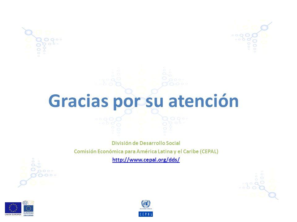 Gracias por su atención División de Desarrollo Social Comisión Económica para América Latina y el Caribe (CEPAL) http://www.cepal.org/dds/
