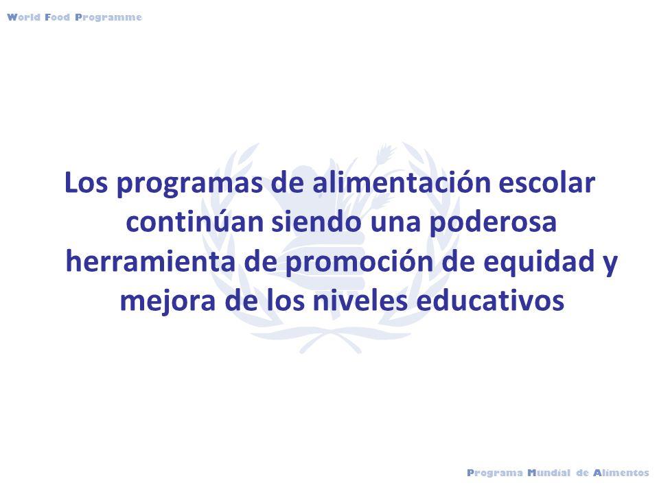 Programa Mundial de Alimentos World Food Programme Los programas de alimentación escolar continúan siendo una poderosa herramienta de promoción de equidad y mejora de los niveles educativos