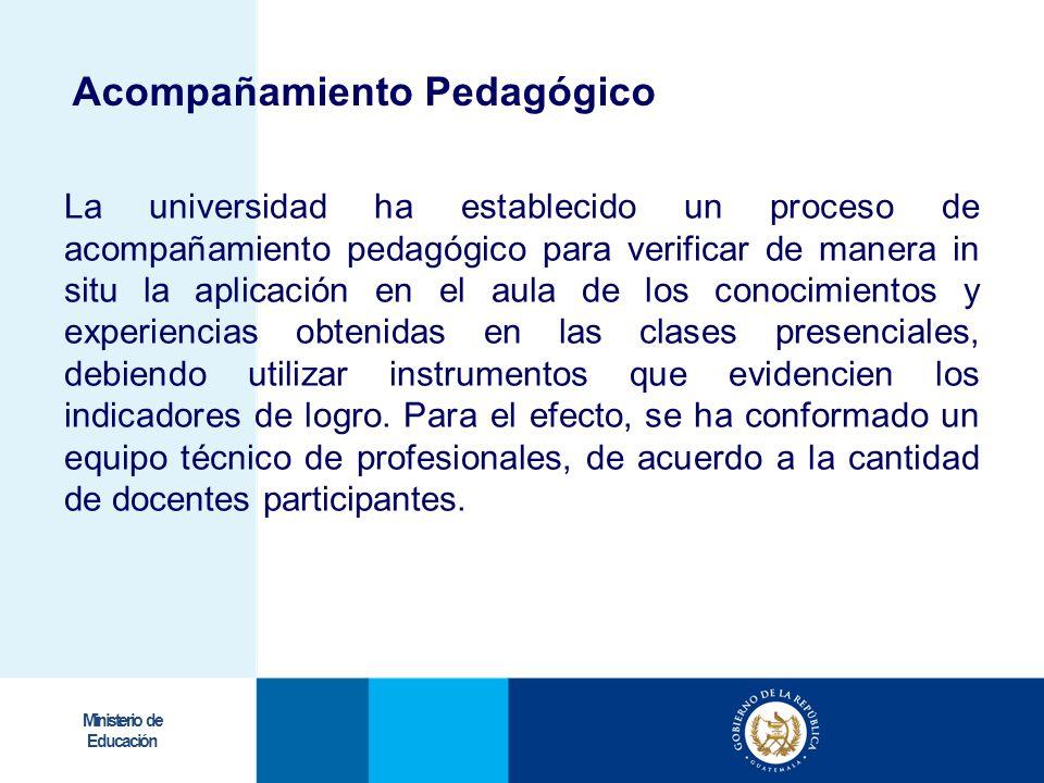 Ministerio de Educación La universidad ha establecido un proceso de acompañamiento pedagógico para verificar de manera in situ la aplicación en el aul