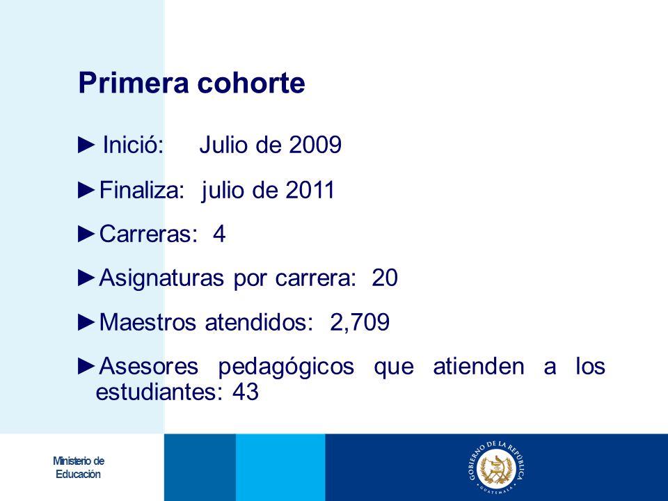 Ministerio de Educación Inició: Julio de 2009 Finaliza: julio de 2011 Carreras: 4 Asignaturas por carrera: 20 Maestros atendidos: 2,709 Asesores pedag
