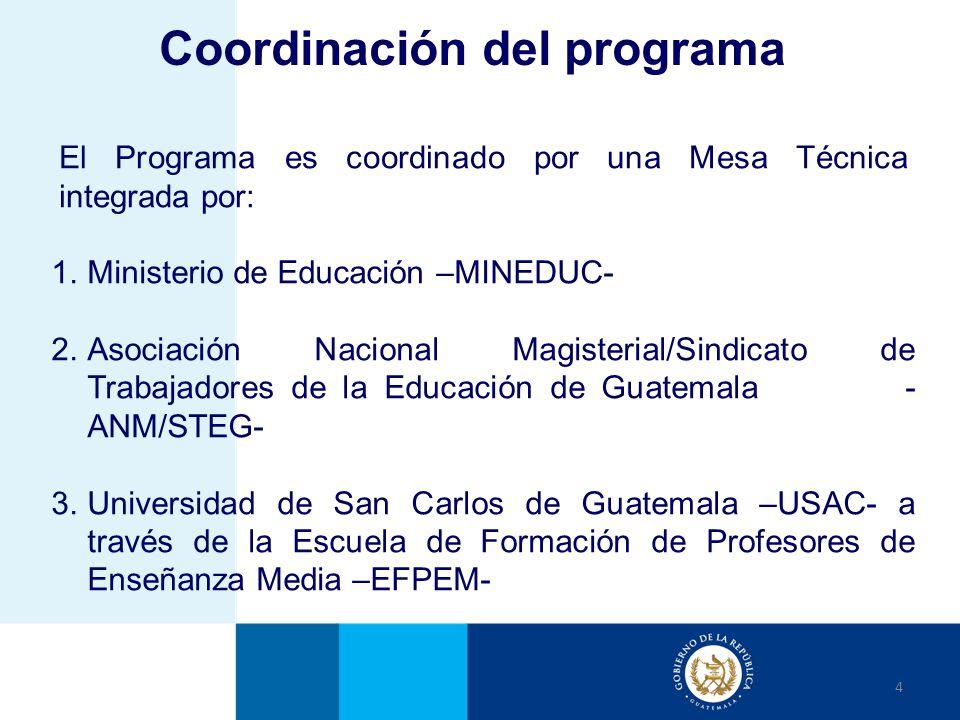 El Programa es coordinado por una Mesa Técnica integrada por: 4 1.Ministerio de Educación –MINEDUC- 2.Asociación Nacional Magisterial/Sindicato de Tra