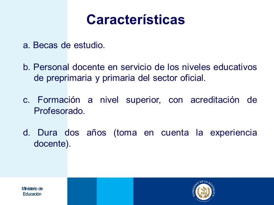 Ministerio de Educación Características a. Becas de estudio. b. Personal docente en servicio de los niveles educativos de preprimaria y primaria del s