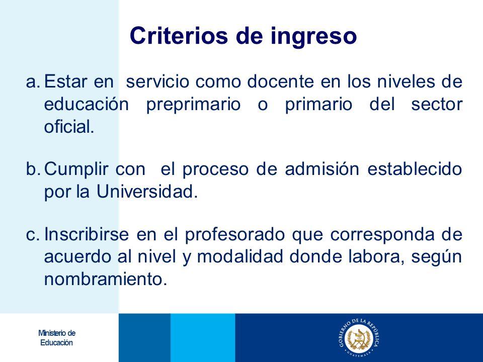 Ministerio de Educación Criterios de ingreso a.Estar en servicio como docente en los niveles de educación preprimario o primario del sector oficial. b