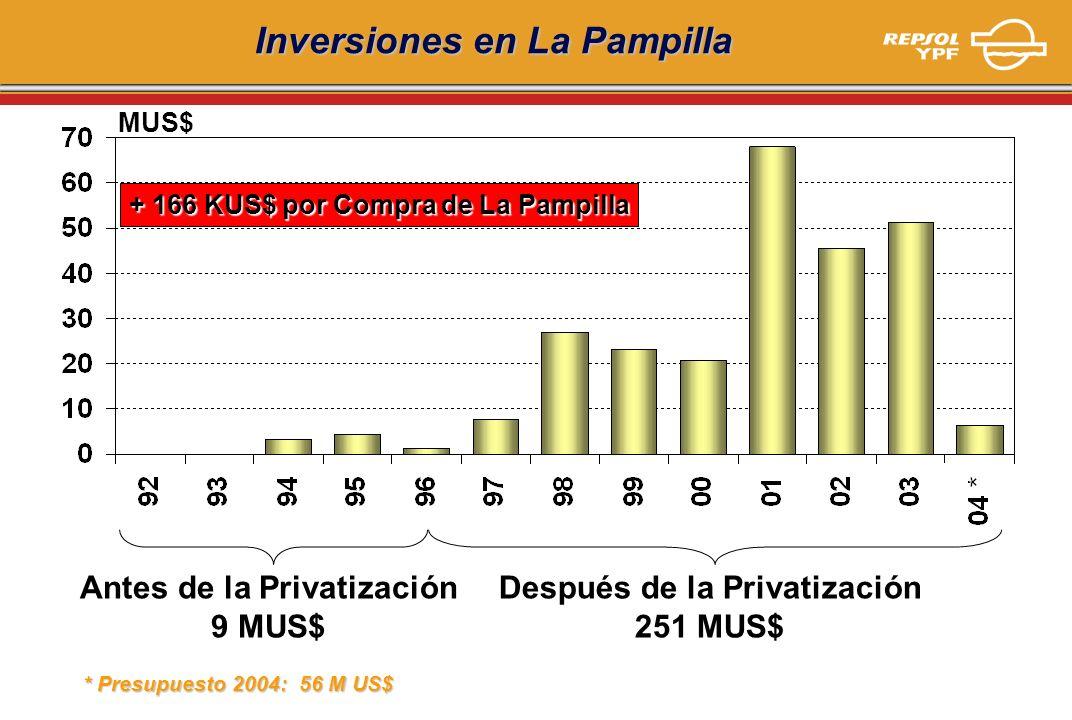 Inversiones en La Pampilla MUS$ Antes de la Privatización 9 MUS$ Después de la Privatización 251 MUS$ + 166 KUS$ por Compra de La Pampilla * Presupues