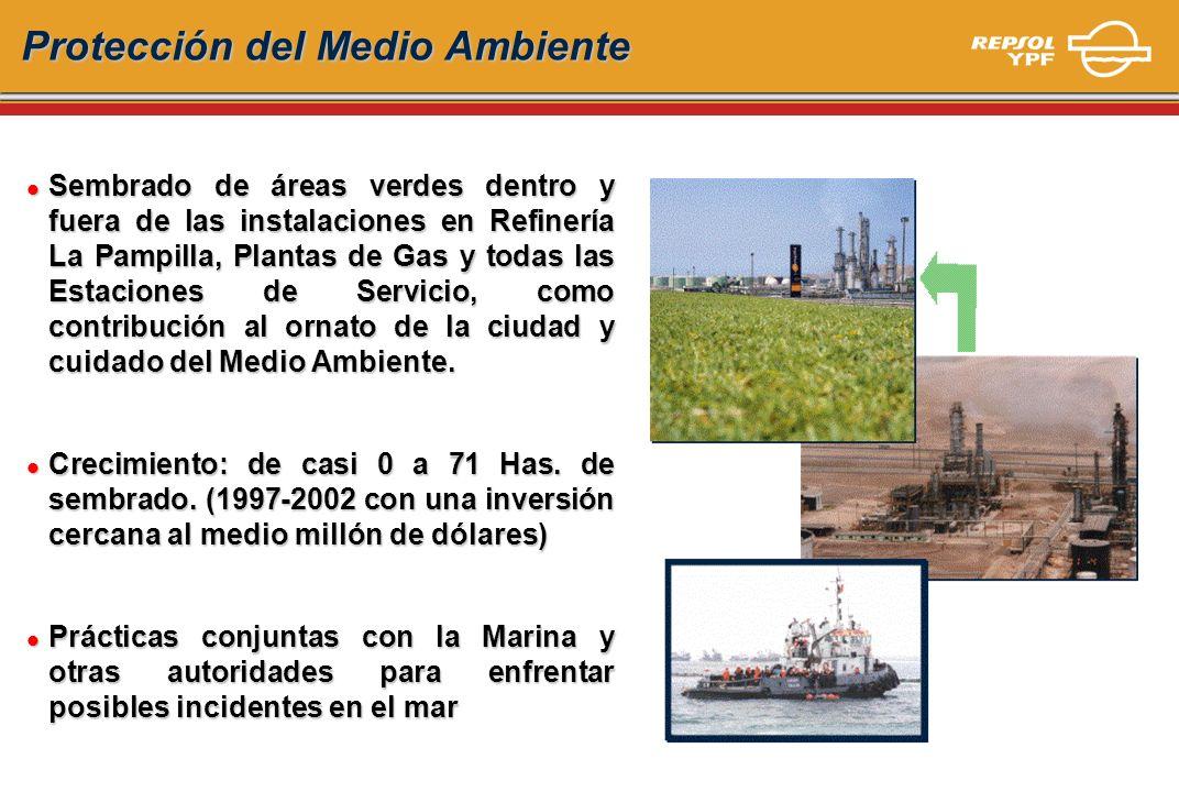 l Sembrado de áreas verdes dentro y fuera de las instalaciones en Refinería La Pampilla, Plantas de Gas y todas las Estaciones de Servicio, como contr