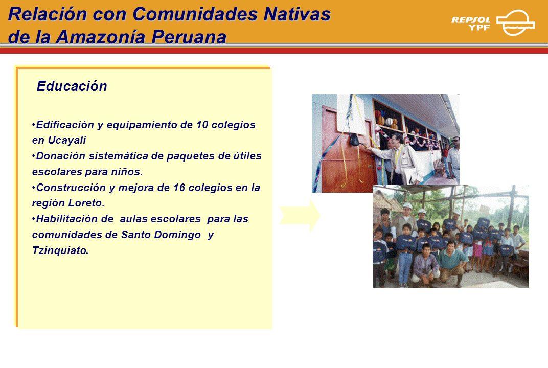 Educación Edificación y equipamiento de 10 colegios en Ucayali Donación sistemática de paquetes de útiles escolares para niños. Construcción y mejora