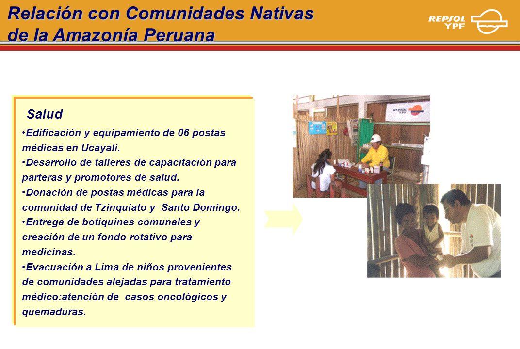 Relación con Comunidades Nativas de la Amazonía Peruana Salud Edificación y equipamiento de 06 postas médicas en Ucayali. Desarrollo de talleres de ca
