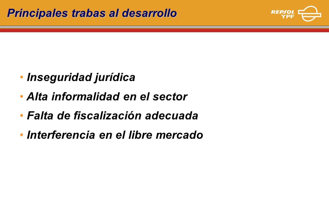 Principales trabas al desarrollo Inseguridad jurídica Alta informalidad en el sector Falta de fiscalización adecuada Interferencia en el libre mercado