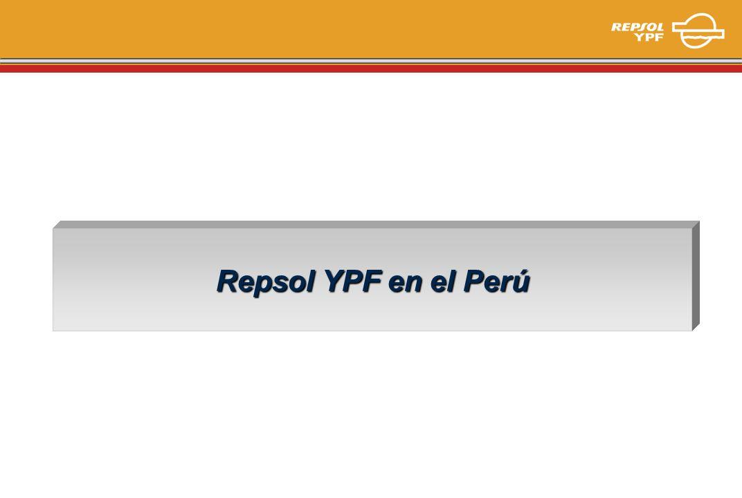 Principales Empresas del Perú Repsol YPF en Perú 2003 1 er Inversor en campañas exploratorias 1 o Volumen de Ingresos 1 er Importador del País 1 o Recaudador Fiscal 6 o Exportador del País MUS$ Año 2002 Fuente: The Top 10.000 Companies
