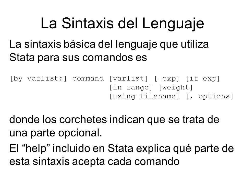 La Sintaxis del Lenguaje La sintaxis básica del lenguaje que utiliza Stata para sus comandos es [by varlist:] command [varlist] [=exp] [if exp] [in ra