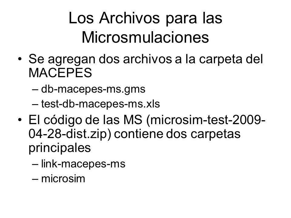 Los Archivos para las Microsmulaciones Se agregan dos archivos a la carpeta del MACEPES –db-macepes-ms.gms –test-db-macepes-ms.xls El código de las MS