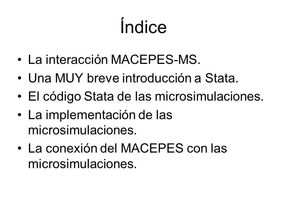 Índice La interacción MACEPES-MS. Una MUY breve introducción a Stata. El código Stata de las microsimulaciones. La implementación de las microsimulaci