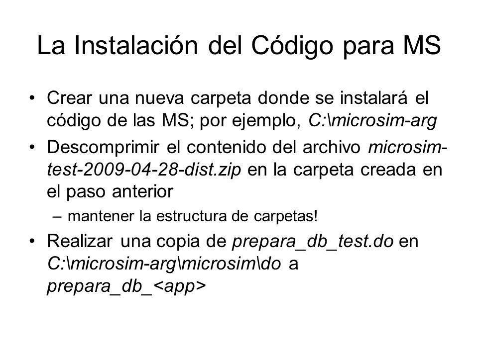 La Instalación del Código para MS Crear una nueva carpeta donde se instalará el código de las MS; por ejemplo, C:\microsim-arg Descomprimir el conteni