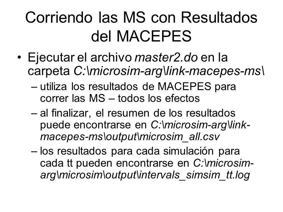 Corriendo las MS con Resultados del MACEPES Ejecutar el archivo master2.do en la carpeta C:\microsim-arg\link-macepes-ms\ –utiliza los resultados de M