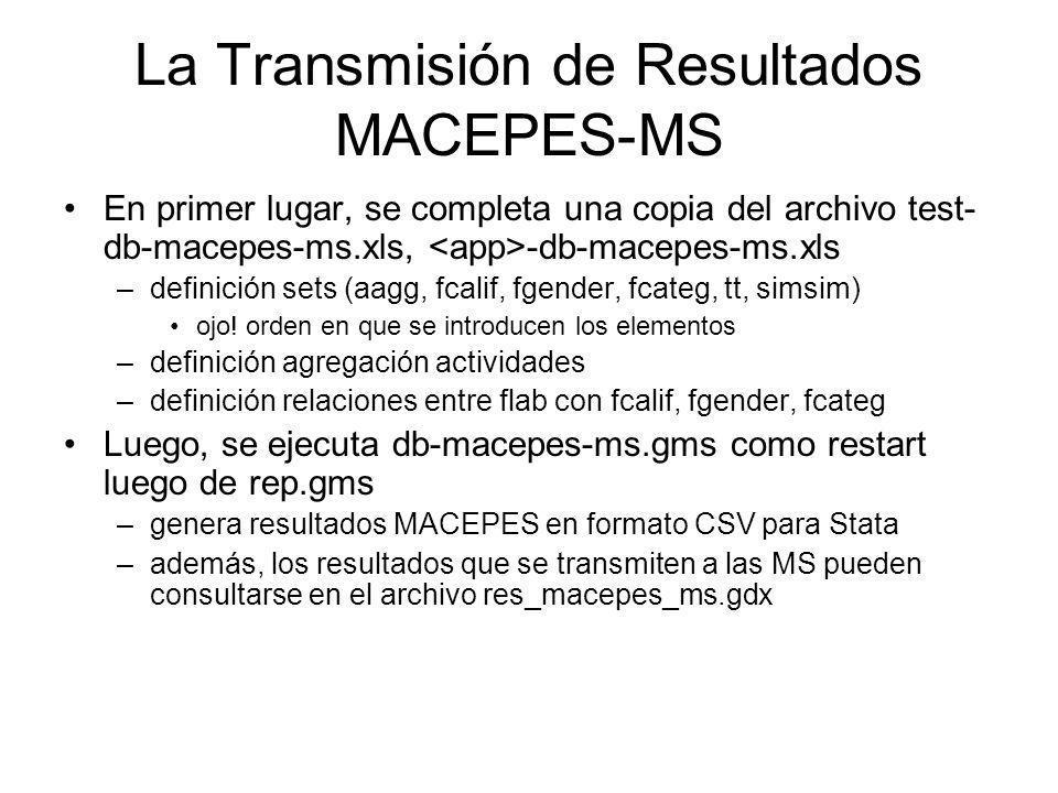 La Transmisión de Resultados MACEPES-MS En primer lugar, se completa una copia del archivo test- db-macepes-ms.xls, -db-macepes-ms.xls –definición set