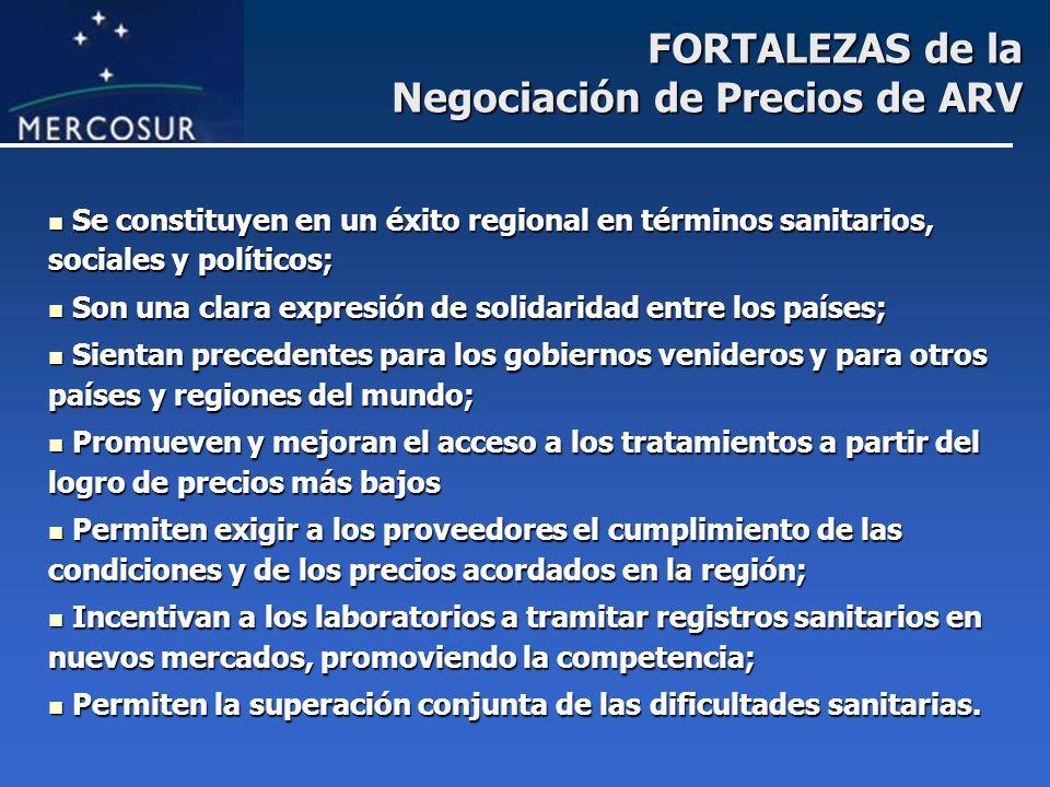 FORTALEZAS de la Negociación de Precios de ARV Se constituyen en un éxito regional en términos sanitarios, sociales y políticos; Se constituyen en un