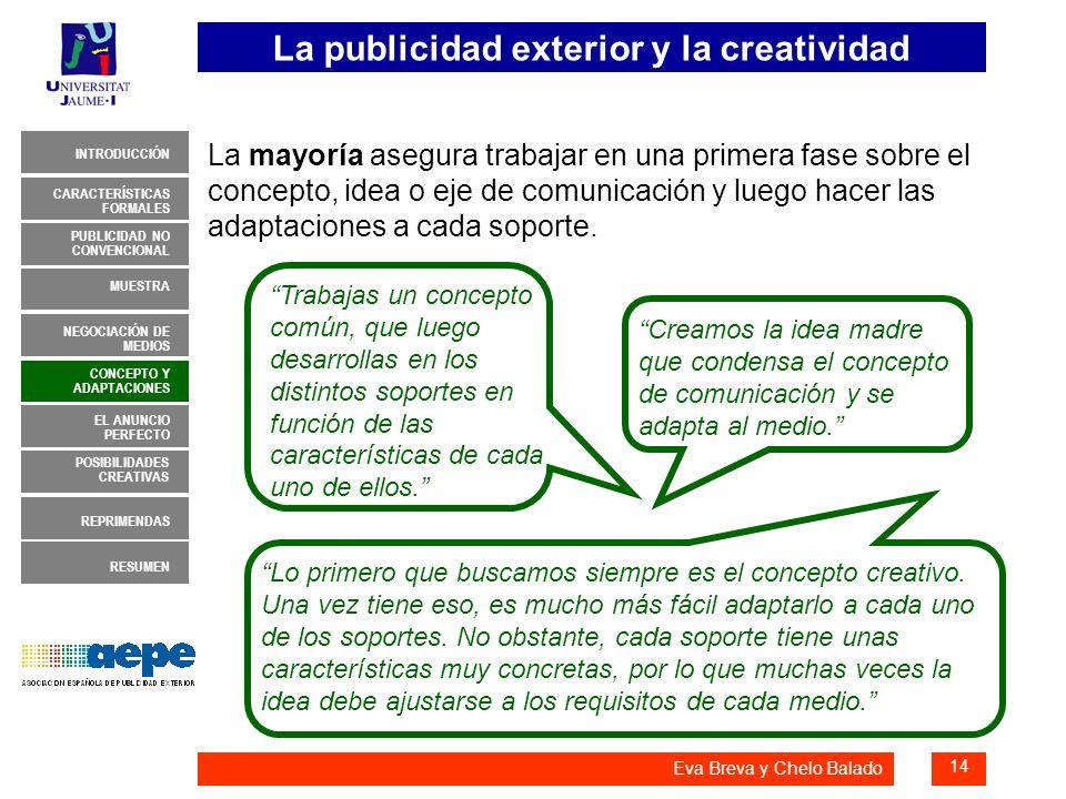 La publicidad exterior y la creatividad 14 INTRODUCCIÓN MUESTRA NEGOCIACIÓN DE MEDIOS CONCEPTO Y ADAPTACIONES EL ANUNCIO PERFECTO CARACTERÍSTICAS FORM