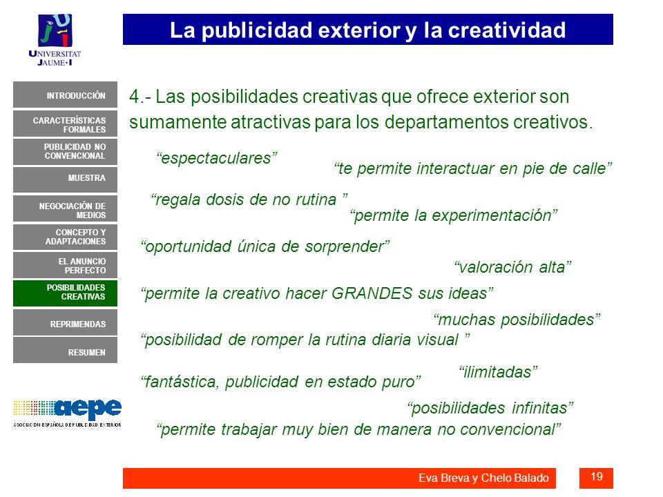 La publicidad exterior y la creatividad 19 INTRODUCCIÓN MUESTRA NEGOCIACIÓN DE MEDIOS CONCEPTO Y ADAPTACIONES EL ANUNCIO PERFECTO CARACTERÍSTICAS FORM