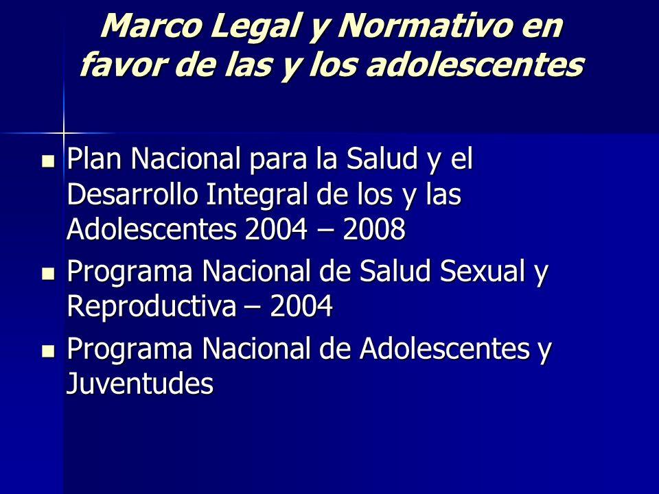 Marco Legal y Normativo en favor de las y los adolescentes Plan Nacional para la Salud y el Desarrollo Integral de los y las Adolescentes 2004 – 2008
