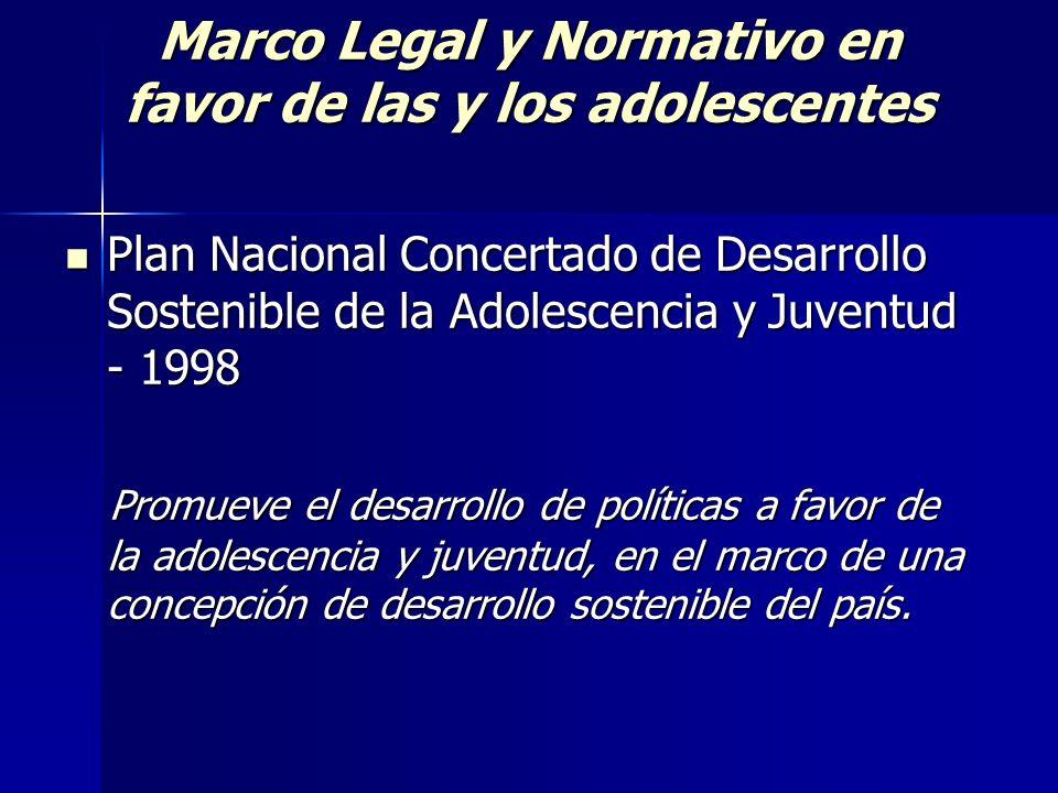 Marco Legal y Normativo en favor de las y los adolescentes Plan Nacional Concertado de Desarrollo Sostenible de la Adolescencia y Juventud - 1998 Plan