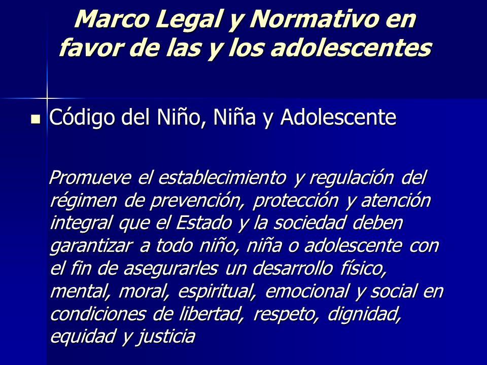 Marco Legal y Normativo en favor de las y los adolescentes Código del Niño, Niña y Adolescente Código del Niño, Niña y Adolescente Promueve el estable