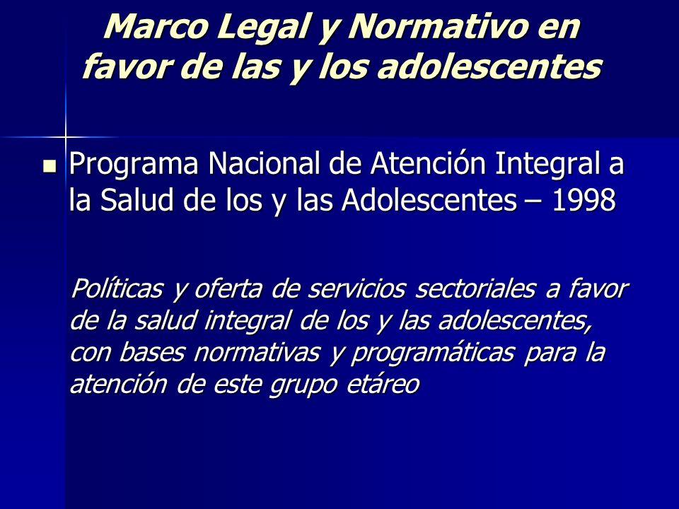 Marco Legal y Normativo en favor de las y los adolescentes Programa Nacional de Atención Integral a la Salud de los y las Adolescentes – 1998 Programa