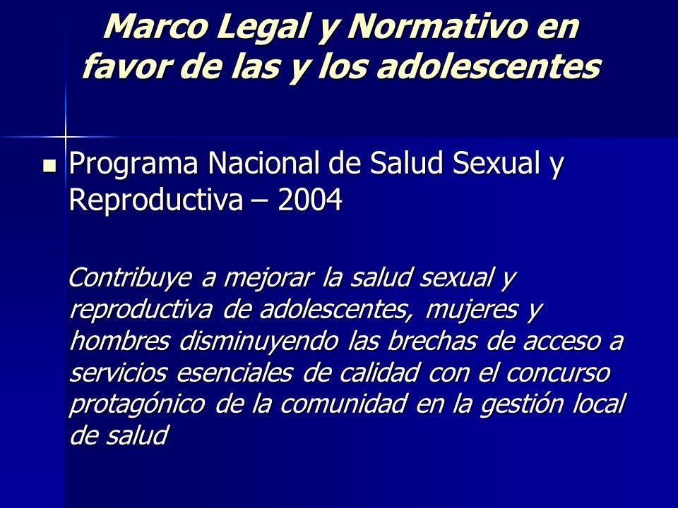 Marco Legal y Normativo en favor de las y los adolescentes Programa Nacional de Salud Sexual y Reproductiva – 2004 Programa Nacional de Salud Sexual y