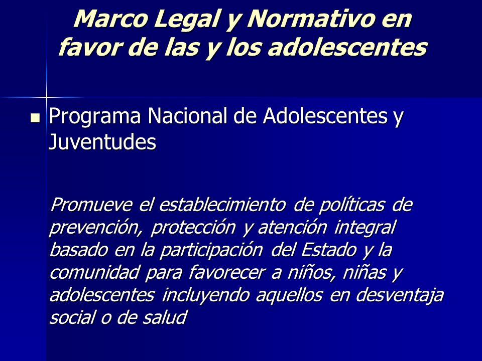 Marco Legal y Normativo en favor de las y los adolescentes Programa Nacional de Adolescentes y Juventudes Programa Nacional de Adolescentes y Juventud