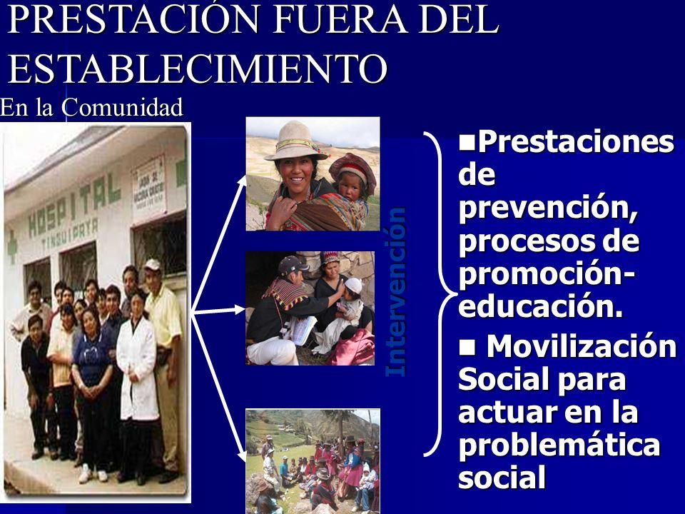 PRESTACIÓN FUERA DEL ESTABLECIMIENTO Prestaciones de prevención, procesos de promoción- educación. Prestaciones de prevención, procesos de promoción-