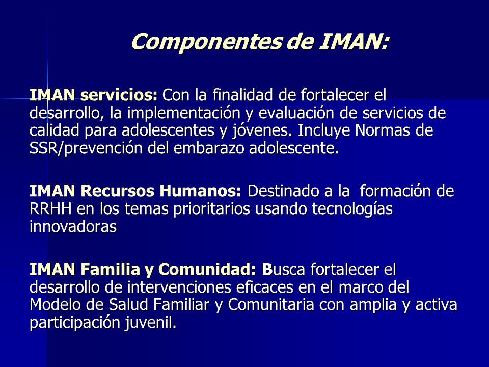 Componentes de IMAN: IMAN servicios: Con la finalidad de fortalecer el desarrollo, la implementación y evaluación de servicios de calidad para adolesc
