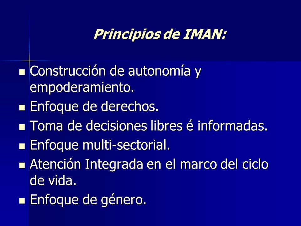 Principios de IMAN: Construcción de autonomía y empoderamiento. Construcción de autonomía y empoderamiento. Enfoque de derechos. Enfoque de derechos.