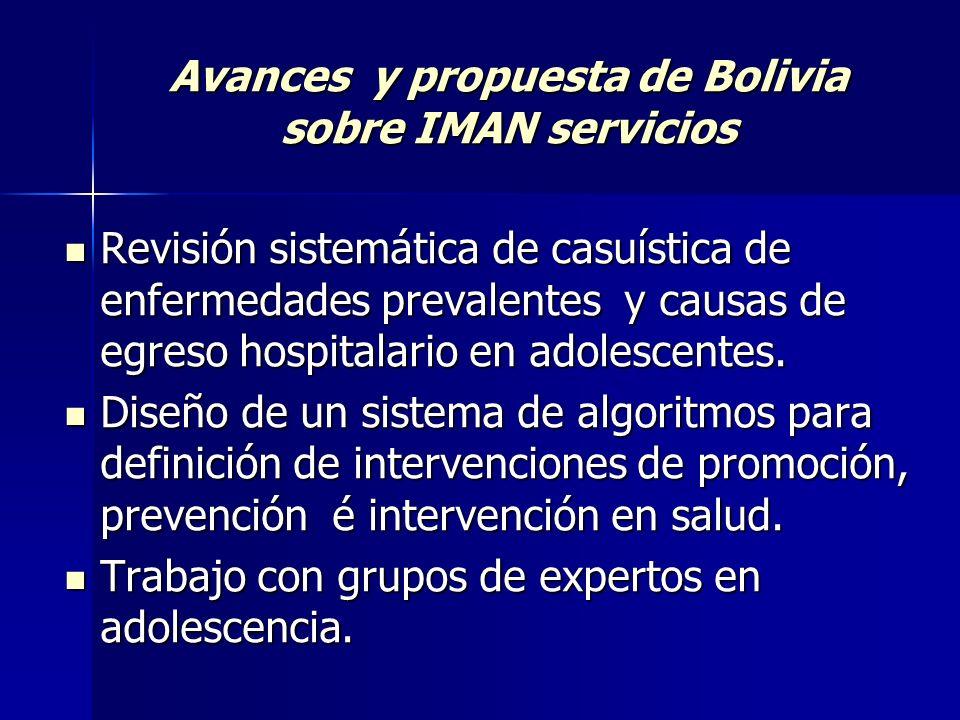 Avances y propuesta de Bolivia sobre IMAN servicios Revisión sistemática de casuística de enfermedades prevalentes y causas de egreso hospitalario en