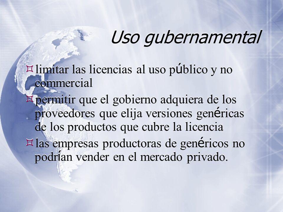 Uso gubernamental limitar las licencias al uso p ú blico y no commercial permitir que el gobierno adquiera de los proveedores que elija versiones gen