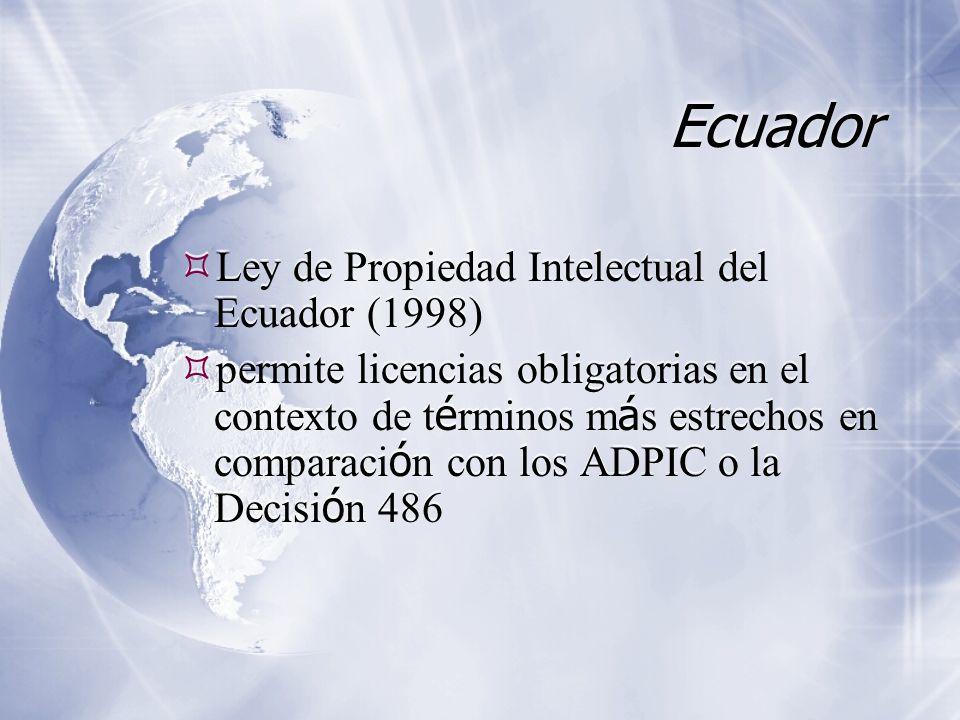 Ecuador Ley de Propiedad Intelectual del Ecuador (1998) permite licencias obligatorias en el contexto de t é rminos m á s estrechos en comparaci ó n con los ADPIC o la Decisi ó n 486 Ley de Propiedad Intelectual del Ecuador (1998) permite licencias obligatorias en el contexto de t é rminos m á s estrechos en comparaci ó n con los ADPIC o la Decisi ó n 486