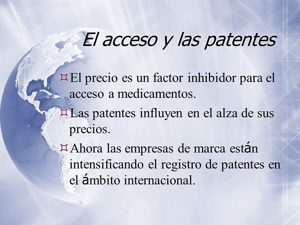 El acceso y las patentes El precio es un factor inhibidor para el acceso a medicamentos. Las patentes influyen en el alza de sus precios. Ahora las em