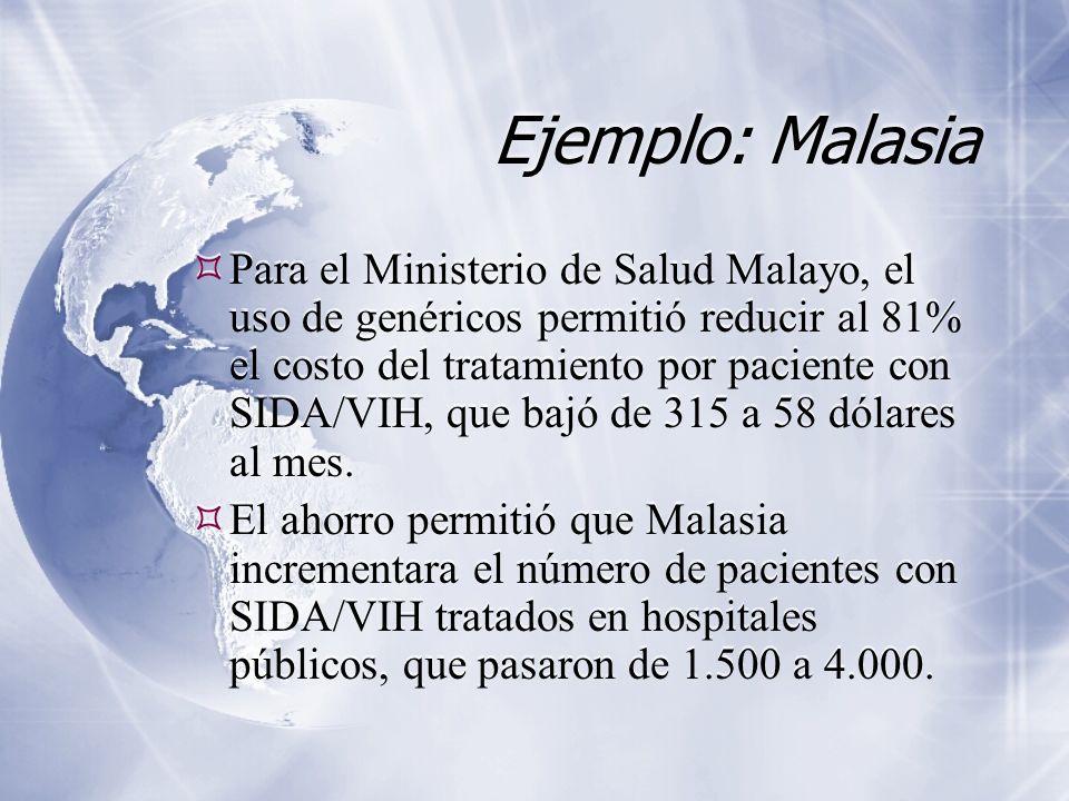 Ejemplo: Malasia Para el Ministerio de Salud Malayo, el uso de genéricos permitió reducir al 81% el costo del tratamiento por paciente con SIDA/VIH, que bajó de 315 a 58 dólares al mes.